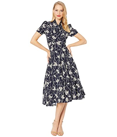 Unique Vintage 1940s Style Camilla Midi Dress (Navy/White Floral) Women