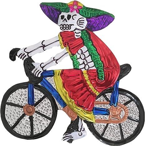 Amazon Com Casa Fiesta Designs Mexican Milagros Charm Catrina On A Bike Milagros Mexicanos Catrina Large Catrina En Bicicleta Home Kitchen