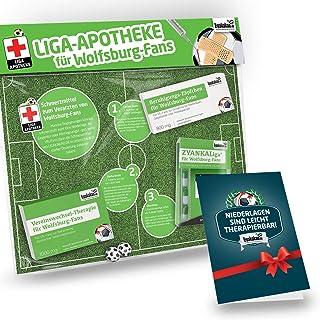 Geschenk-Set: Die Liga-Apotheke für Wolfsburg-Fans | 3X süße Schmerzmittel für Wolfsburg Fans | Die besten Fanartikel der Liga, Besser als Trikot, Home Away, Saison 18/19 Jersey