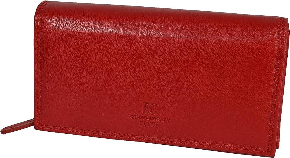 Coveri world,  portafoglio da donna in, vera pelle con portamonete, portacarte di credito, Rosso 155