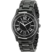 EBEL X-1 Black Dial Black Ceramic and Steel Ladies Watch
