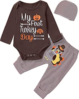 Aslaylme Baby Boys Thanksgiving Outfit Newborn Infant My First Turkey Day Pants Clothing Set (Brown,3-6 Months)