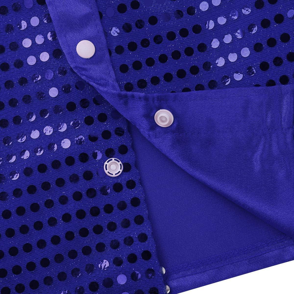 Kaerm Kids Boys Sequins Long Sleeve Button Down Dance Shirts for Hip Hop//Jazz//Latin//Street Dance