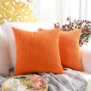 Best MERNETTE Pack of 2, Corduroy Soft Decorative Square Throw Pillow Cover Cushion Covers Pillowcase, Home Decor Decorations for Sofa Couch Bed Chair 18x18 Inch/45x45 cm (Striped Orange) Review