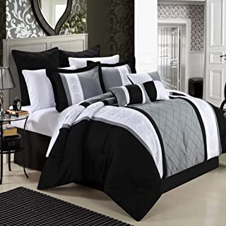 black white purple bedding