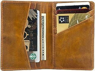 Otto Angelino Porte-Cartes Porte-Monnaie en Cuir Véritable - Unisexe (Camel)