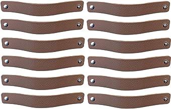 Brute Strength - Leren Handgrepen - Taupe - 12 stuks - 20 x 2,5 cm - incl. 3 kleuren schroeven per leren handvat voor keuk...
