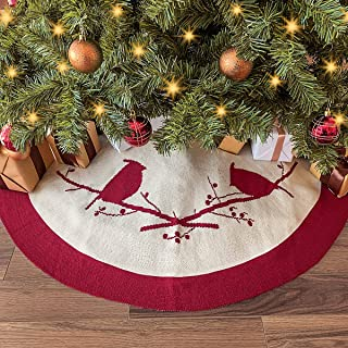 LimBridge Christmas Tree Skirt, 48 inches Knitted Thick Cardinals Birds Rustic Xmas Holiday Decoration, Cream and Burgundy