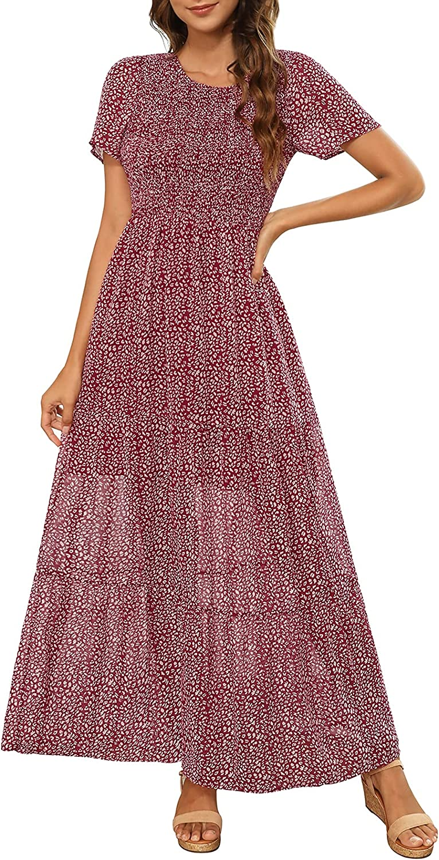 Zattcas Womens Summer Casual Short Sleeve Bohemian Floral Tiered Maxi Dress