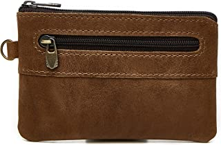 Full Grain Leather Zipper Pockets Coins, Cards, and Keys Pouch, Mini Wallet
