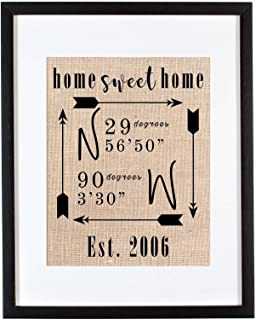 home sweet home sign with coordinates