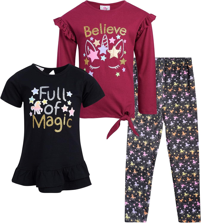 Real Love Baby Girls' Leggings Set - 3 Piece Fashion Kids Playwear Set (Infant/Toddler/Little Girl)