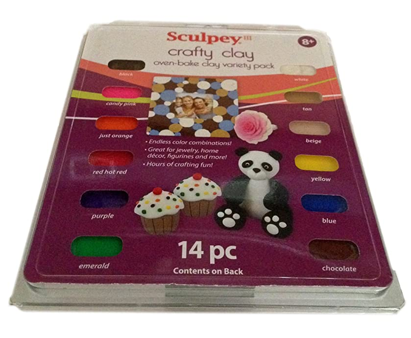 Sculpey Crafty Clay Oven Bake Clay Variety Pack 14pc