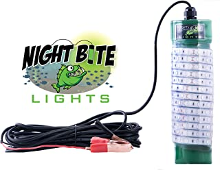 Night Bite Lights 12 Volt DC LED Portable Fishing Light Available in Green, Blue or White. 25' Power Cord with (Alligator Clips) Saltwater Safe Submersible Light.