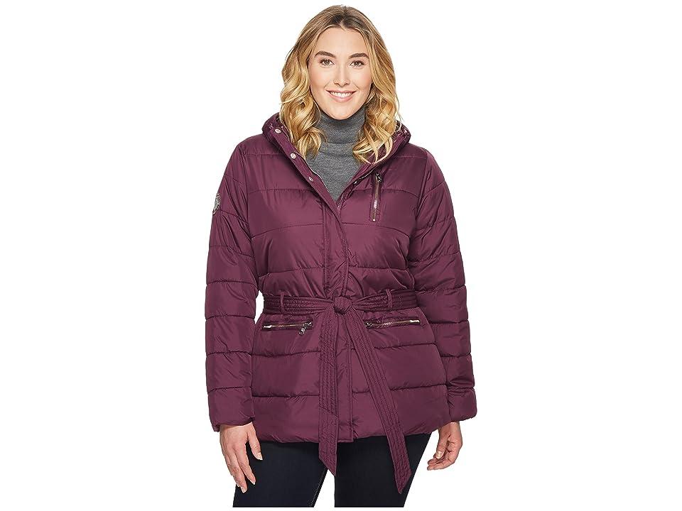 U.S. POLO ASSN. Plus Size Long Puffer Jacket with Belt (Merlot Wine) Women