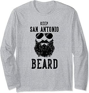 Keep San Antonio Texas BEARD Funny Hipster Retro Long Sleeve T-Shirt