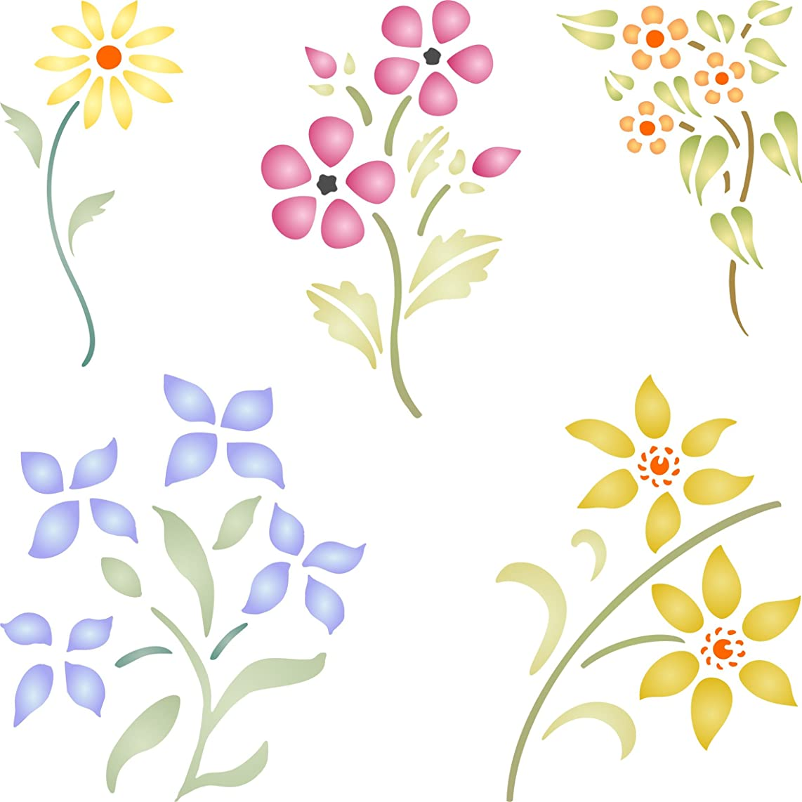 """Floral Set Stencil - (size 6.5""""w x 6.5""""h) Reusable Wall Stencils for Painting - Best Quality Flower Template Ideas - Use on Walls, Floors, Fabrics, Glass, Wood, and More…"""