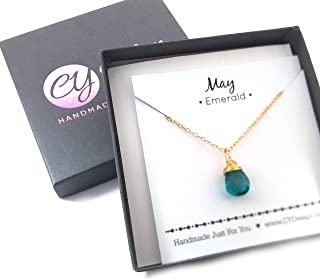 May Birthstone Emerald Quartz 14k Gold Filled Necklace - Gift for Her