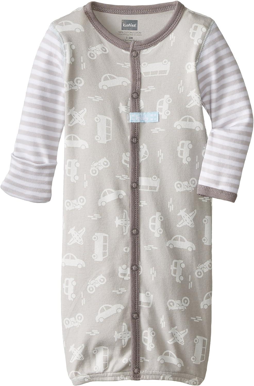 Kushies Baby Newborn Convertible Gown Grey