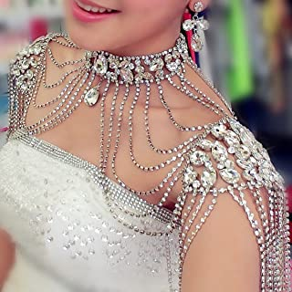 WellieSTR 1 Piece Rhinestone Crystal Handmade Bridal Shoulder Necklace Pearl Women Pageant Prom Wedding Shoulder Jewelry Chain Necklaces