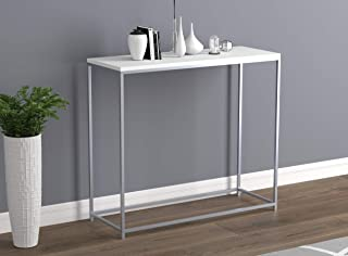 Safdie & Co. Entryway Couch Accent Wall White with Silver Metal Console Sofa Table