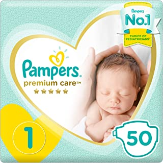 Pampers Premium Care Diapers, Size 1, Newborn, 2-5 kg, Mid Pack, 50 Count