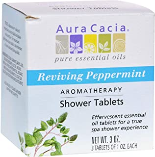 Aura Cacia Aromatherapy Shower Tablets, Reviving Peppermint 3 ea (Pack of 4)
