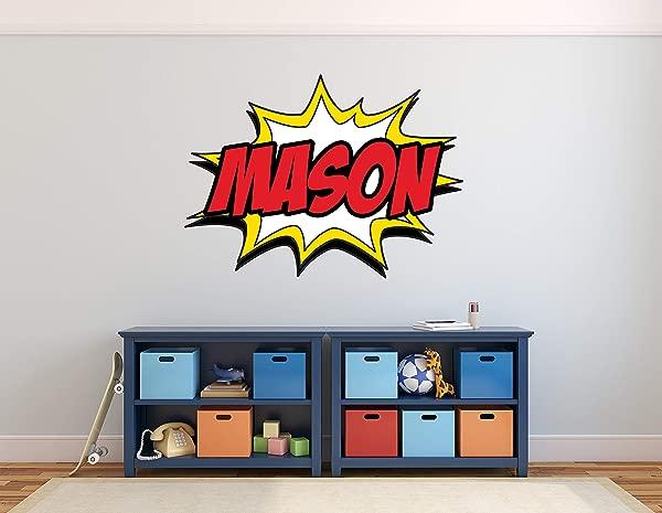 Custom Comic Name Wall Decal Superheroes Wall Decals Nursery Wall Decals Baby Room Mural Art Decor Vinyl Sticker 30 X 22