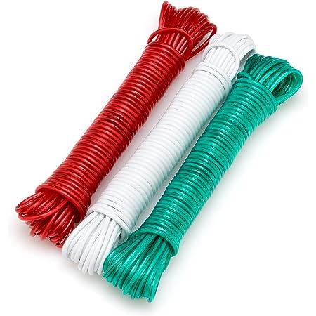 Flandria 20216 Lot de 3 Cordes à linge 10 m âme Acier, Multicolore