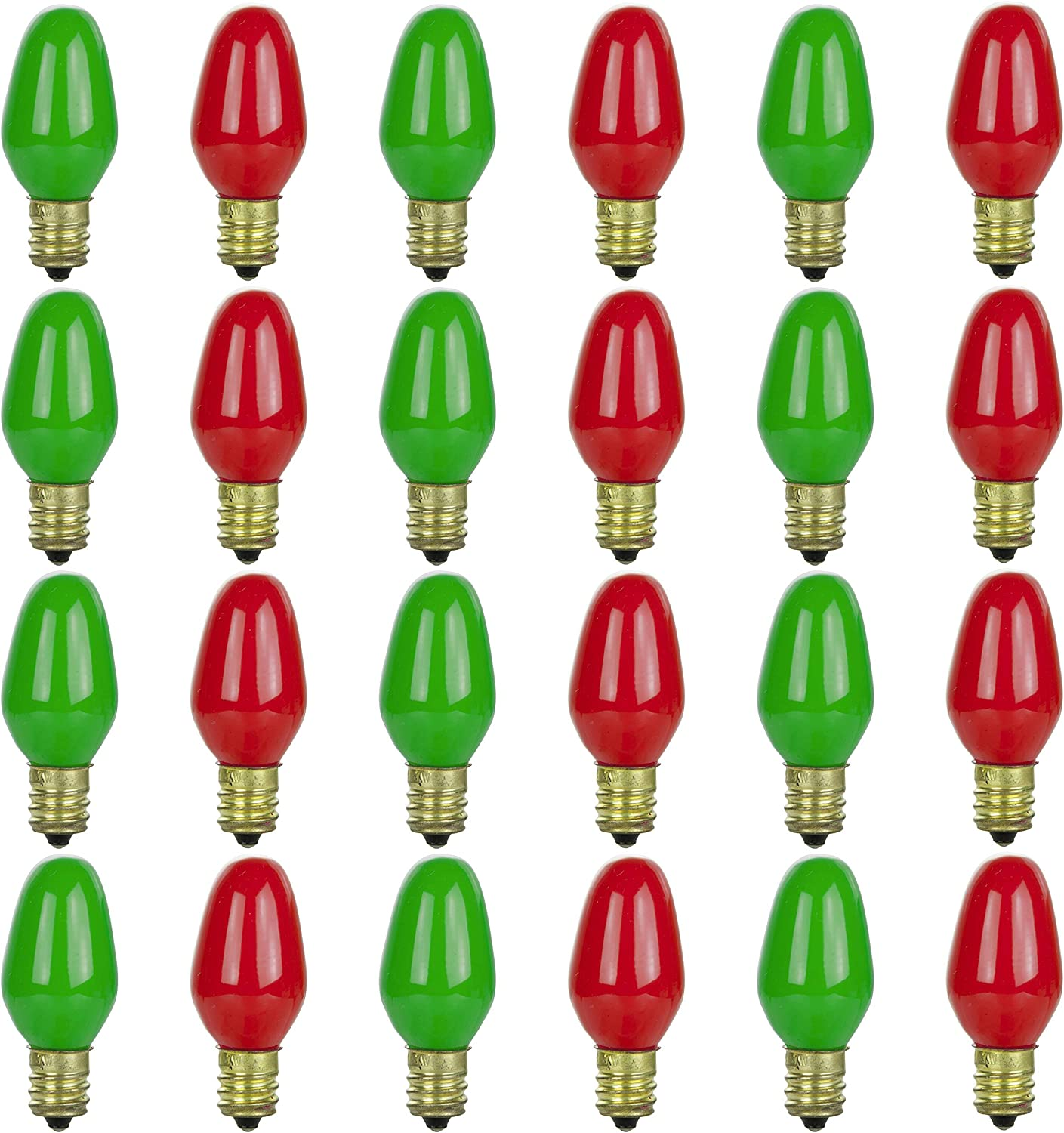 Candelabra Base 7 Watt Orange E14 24 Pack Red Sunlite 45173-SU Decorative Christmas Holiday Light Bulbs Dimmable Yellow and White 8,000 Hour Life Span Mercury Free Green Blue