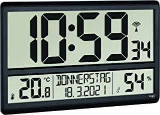 TFA Dostmann Reloj de Pared Digital XL 60.4520.01, con Temperatura y Humedad, día de la Semana (8 Idiomas), Reloj controla...