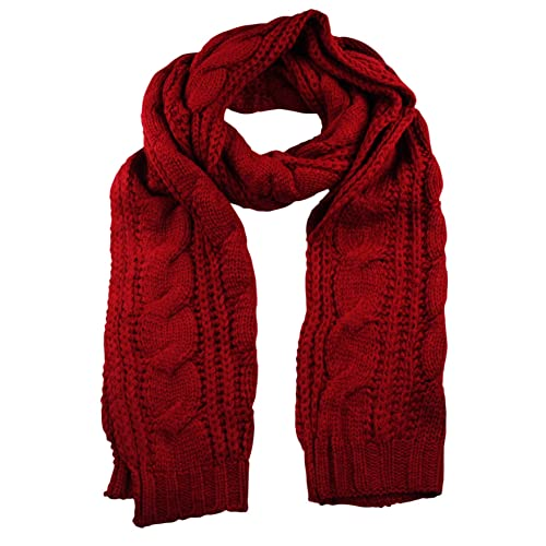 e09d38f6a Itzu Mens Womens Luxury Chunky Cable Knit Scarf Long in Red Black Ecru Stone