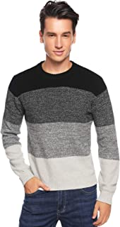 Aibrou Men's Long Sleeve Striped Pullover Sweater Casual Assorted Color Knitwear