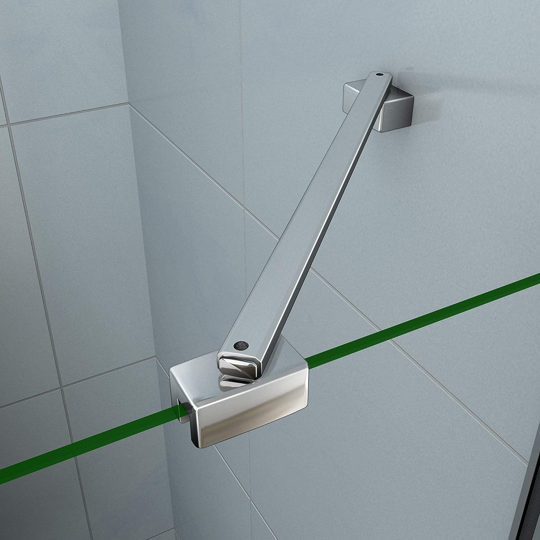 195cm Porta Doccia per Nicchia Apertura Battente Con Barra Stabilizzatrice Cristallo 6mm Temperato Trasparente Anticalcare Larga 80cm