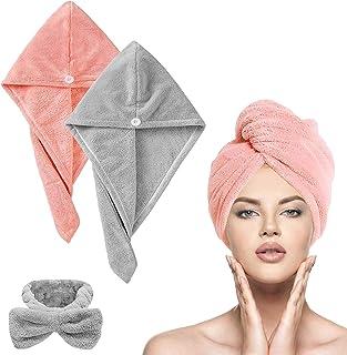 Hair Drying Towels, Microfiber Hair Towel Wrap Set , DELFINO Super Absorbent Microfiber Hair Towel Turban with Button Desi...