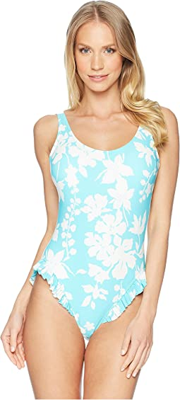MICHAEL Michael Kors - Floral Vine One-Piece Swimsuit w/ High Leg Ruffles & Removable Soft Cups
