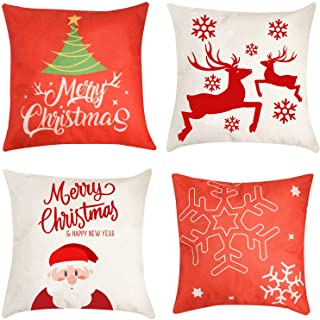 """Best Christmas Pillow Cover Decorations - 4 PCS 18""""x18"""" Christmas Decorative Couch Pillow Cases Cotton Linen Pillow Square Cushion Cover for Sofa, Couch, Bed and Car (Red) Reviews"""