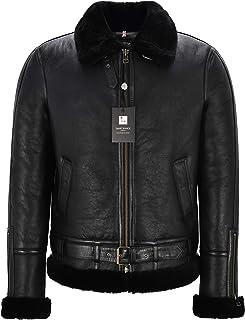 Men's B3 Real Shearling Sheepskin Jacket Belted Black/Black Shearling Bomber RAF NV-47