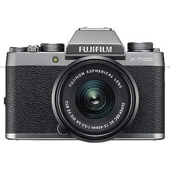 Fujifilm X-T100 Mirrorless Digital Camera w/XC15-45mmF3.5-5.6 OIS PZ Lens - Dark Silver (Renewed)