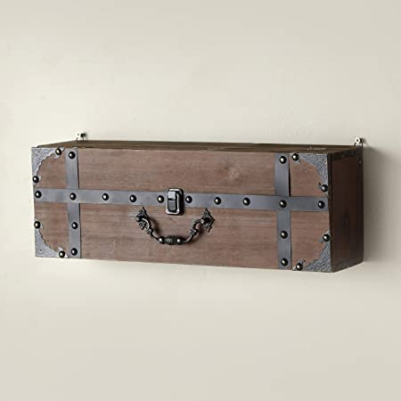 The Lakeside Collection Suitcase Wall Shelf with Distressed Look, Decorative Door Handle - Brown