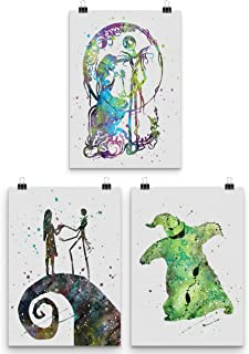 Nightmare Before Christmas 3 Pack Oogie Boogie Jack Sally Wall Art Print Home Decor Poster