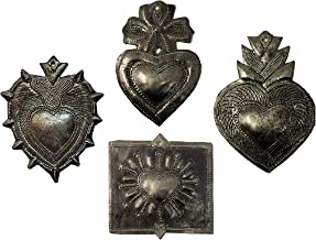 Small Hearts, Haitian Metal Milagro Charms, Set of 4, Love and Friendship, Unique Gifts, Handmade in Haiti, (Charming Hearts)