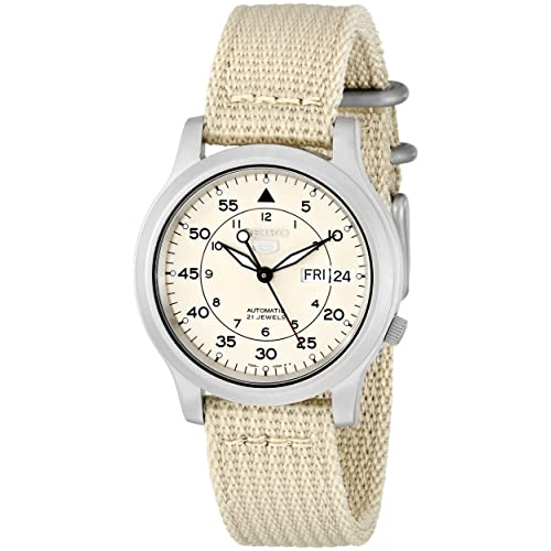 a7430c163 Seiko Men's SNK803 Seiko 5 Automatic Watch with Beige Canvas Strap