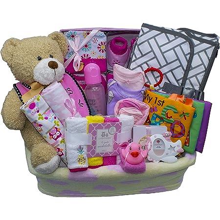 Amazon.com : Bundle of Joy Deluxe Baby Gift Basket | New Baby Boy & New Baby  Girl Gifts (Pink) : Baby