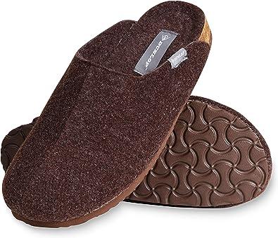 Dunlop Mens Slippers, House Slippers for Men, Felt Slipper for Man, Size 7-12, Comfy Memory Foam Mules, Warm Indoor Anti Slip Shoes, Novelty Gift for Winter
