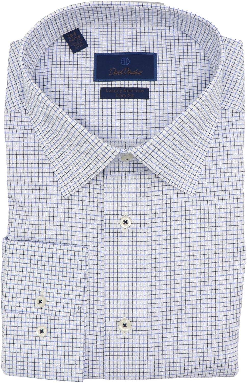 David Donahue Men's White/Blue Luxury Non Iron Trim Fit Dress Shirt - XL