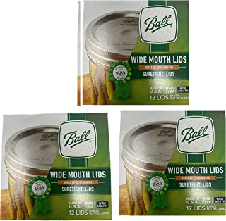 Ball Wide Mouth Lids 3 Dozen or a Total of 36 Canning Preserving Wide Lids, Lids Only No Bands or Rings With this Offer