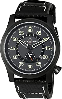 Deep Blue 'Papa Praesto' Automatic Stainless Steel and Black Leather Aviator Watch (Model: ABPPPVDBLACK)