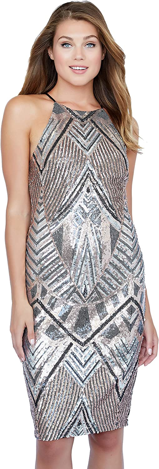 French Poodle Junior's Cocktail Dress, Copper, gold, Black and Silver Sequined