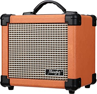 Mugig Guitar Amplifier 10W with Two Adjustable Channels and Dist Effects, Powered by 6 AA Batteries or AC Adapter